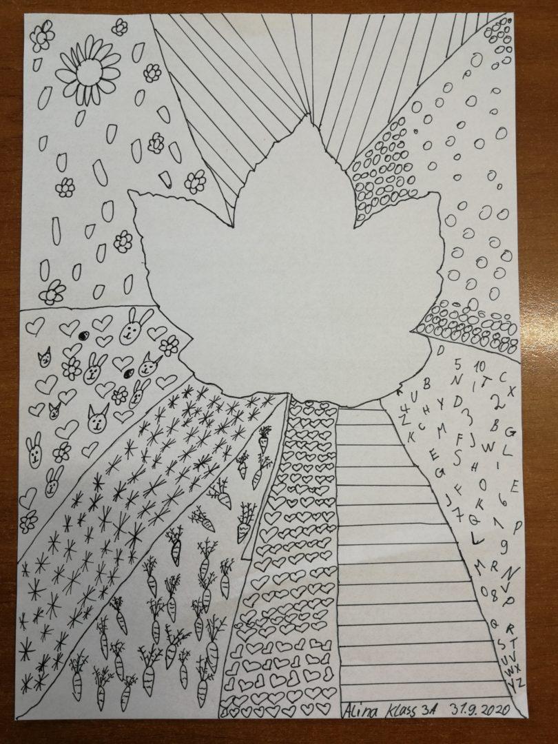 Herbst-Grafiken Klasse 3 (Fineliner/Bleistift)